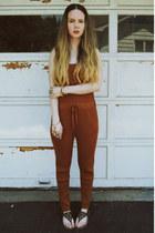 burnt orange gifted OASAP bodysuit - dark brown Michael Kors sandals