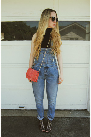 black American Apparel shirt - navy lulus jeans - salmon lulus bag