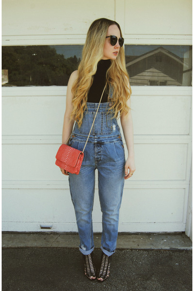black American Apparel shirt - navy lulus jeans - salmon lulus bag