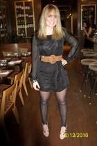 black Forever 21 dress - brown Forever 21 belt - pink Newport News shoes - gold