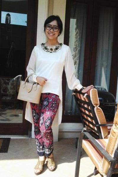 unbranded blouse - didier lamarthe bag - Marie Claire wedges - unbranded pants