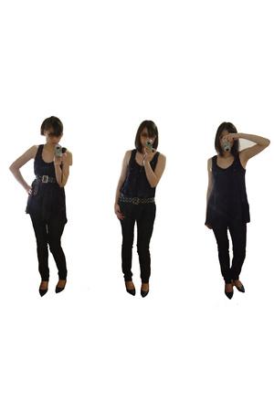 Guess dress - f21 jeans - random belt - le chateau shoes