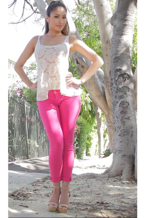 hot pink Standards & Practices jeans - nude just fab heels