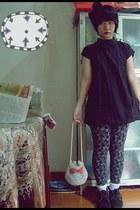 black boots - black dress - black leggings - white bag - white socks