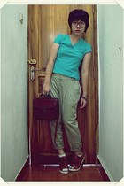 brown bag - white socks - crimson wedges - dark khaki pants - aquamarine top