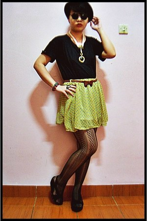 black Ciel top - black Centro stockings - yellow skirt - black wedges