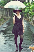black dress - black hat - black tights - black wedges
