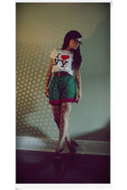 white I Heart NY t-shirt t-shirt - green Alberta Ferretti shorts - brown Aldo wo