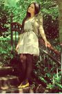 Beige-zara-linen-dress-yellow-vintage-shoes-green-army-blazer-brown-the-ba