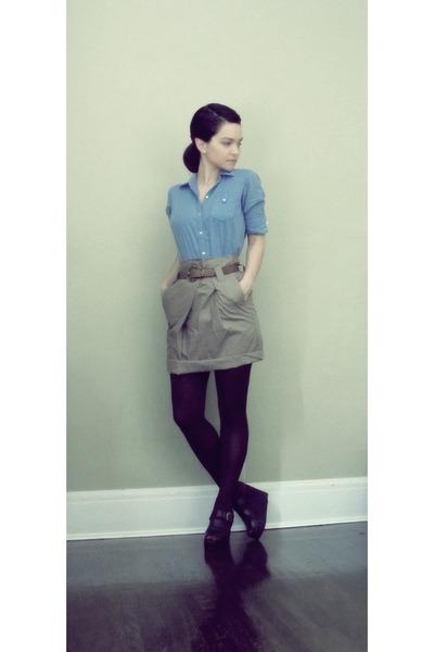gray random brand high waist skirt - blue vintage shirt - black vintage wedges s