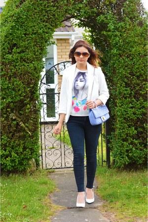 white Sheinside blazer - black River Island jeans - Zara shirt