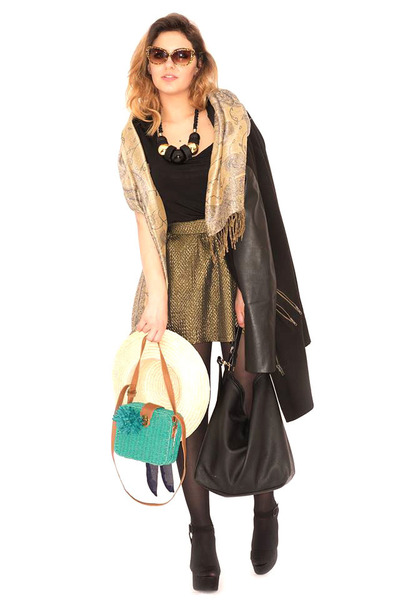 gold TK Maxx scarf - green Primark purse - black H&M purse