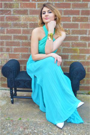 sky blue Sheinside dress - white Primark shoes - gold Primark bracelet