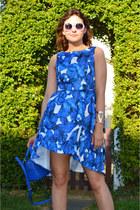 blue Sheinside dress - blue dune bag - white Primark sunglasses