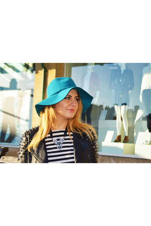 striped Primark dress - black heeled H&M boots - turquoise TK Maxx hat