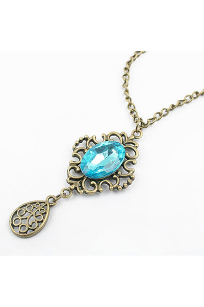 turquoise gem Diamond Petal necklace