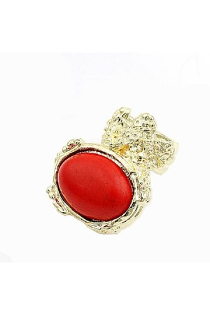 red stone Diamond Petal ring