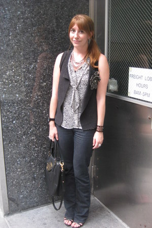 Gap vest - Levis jeans - tory burch bag - Gap blouse - American Eagle necklace
