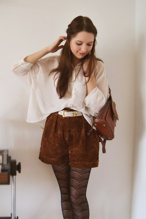 cream silk H&M blouse - dark brown leather vintage bag