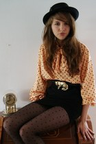 mustard vintage blouse - black thrifted hat - black H&M tights