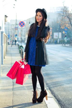 H&M dress - fabric scrap boots - Judi Rosen coat