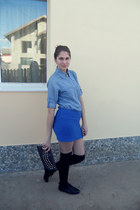 blue shirt - black shoes - gray purse - black stockings - blue skirt