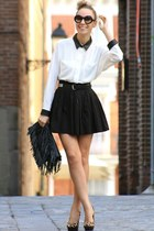 black bag - black skirt - off white blouse - black heels