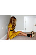 gold kate spade dress - Cynthia Vincent for Target shoes - green vintage belt