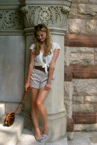 silver St John top - white Urban Outfitters shirt - beige Marc Jacobs shorts - b