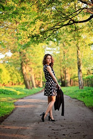 navy polka-dot New Yorker dress - black H&M blazer - black leather ecco heels