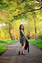 navy polka-dot New Yorker dress - black H&M blazer - black leather ecco heels