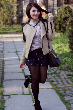 Zara Trf jacket - pull&amp;bear bag - Stradivarius shorts - pull&amp;bear blouse