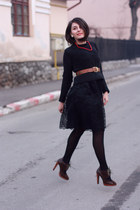 black lace Mango dress - black H&M blouse - tawny leather vintage belt