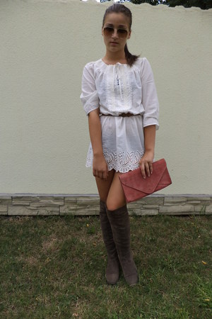 light brown Bershka boots - beige Stradivarius shirt - light pink Zara bag