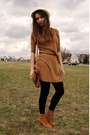 Brown-new-yorker-shoes-light-brown-bershka-dress-eggshell-bershka-hat-blac