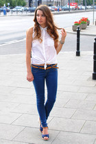 white Bershka blouse - blue Secondhand heels - navy Bershka pants