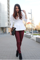 white New Yorker blouse - dark gray Deichmann boots - black house bag