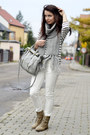 Light-brown-secondhand-boots-navy-striped-h-m-sweater-periwinkle-h-m-scarf