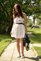 white Zara dress - black Orsay bag - off white H&M flats - Stradivarius bracelet