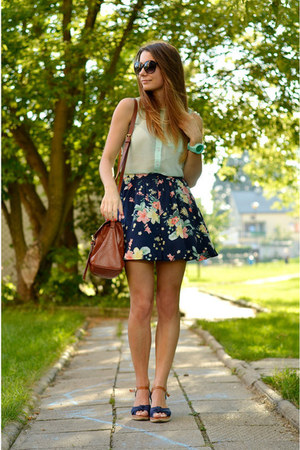navy Bershka skirt - brown H&M bag - aquamarine F&F blouse
