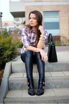 black studded Deichmann boots - puce Sinsay shirt - black Mango bag