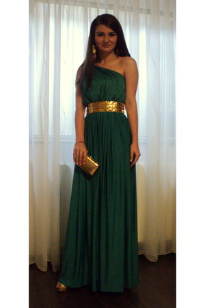 gold nissa purse - long alinka dress