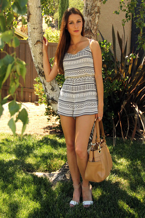 white H&M romper - nude calvin klein bag - white Zara sandals
