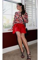 red skater skirt Charlotte Russe skirt - hot pink floral Charlotte Russe blouse