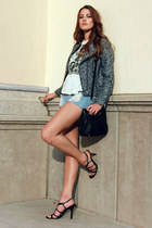 black DKNY bag - heather gray tweed H&M jacket - sky blue Love Culture shorts