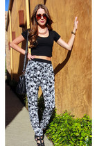 heather gray bohemian Forever 21 pants - black crop top asos shirt