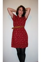 brick red sheer dotty Cute Japanese Fashion dress