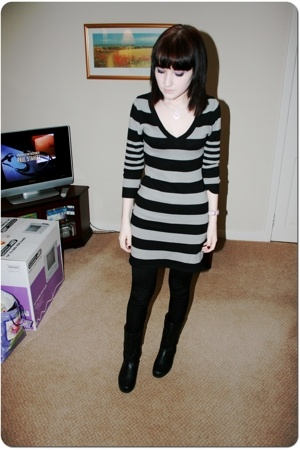H&M dress - Topshop leggings - boots - Disney necklace