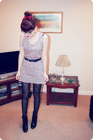 Topshop dress - belt - TK Maxx tights - red or dead boots