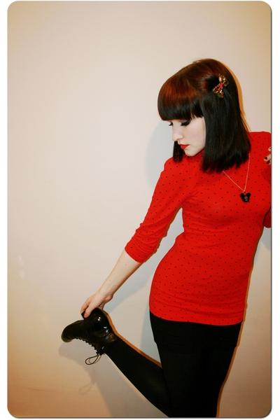 H&M top - H&M skirt - Topshop leggings - Office boots - Disney necklace